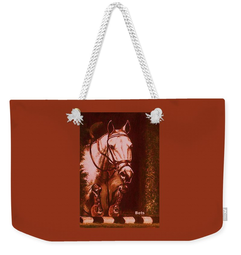 Horse Weekender Tote Bag featuring the painting Horse Painting Jumper No Faults Soft Browns by Bets Klieger