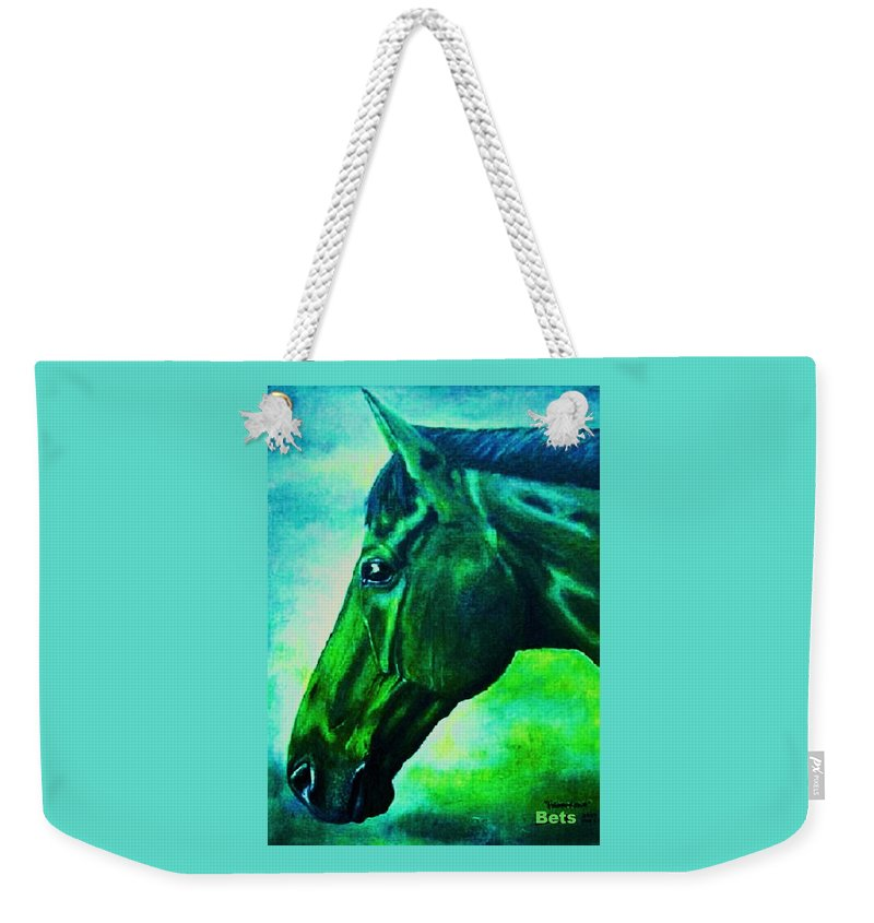 Horse Art Weekender Tote Bag featuring the painting horse portrait PRINCETON blue green by Bets Klieger
