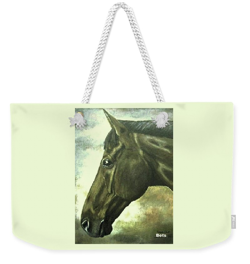 Horse Art Weekender Tote Bag featuring the painting horse portrait PRINCETON bright light by Bets Klieger