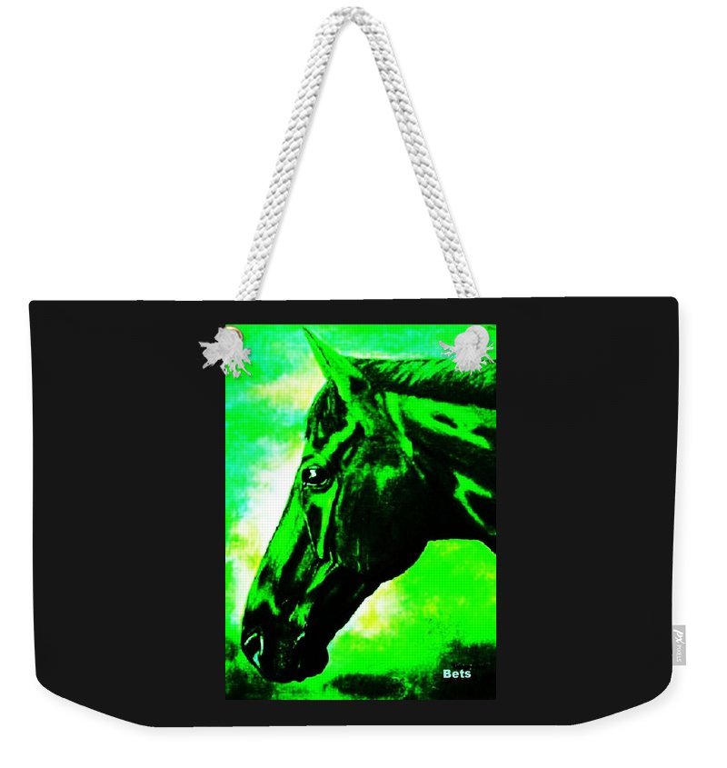 Horse Art Weekender Tote Bag featuring the painting horse portrait PRINCETON green and black by Bets Klieger