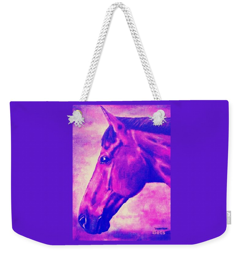 Horse Art Weekender Tote Bag featuring the painting horse portrait PRINCETON pink by Bets Klieger
