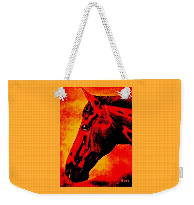 Horse Art Weekender Tote Bag featuring the painting horse portrait PRINCETON sunset by Bets Klieger