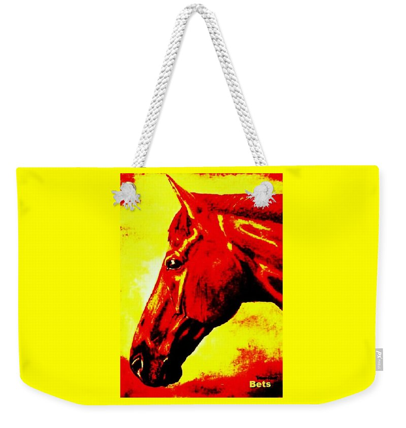 Horse Art Weekender Tote Bag featuring the painting horse portrait PRINCETON yellow and red by Bets Klieger