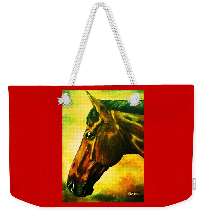 Horse Art Weekender Tote Bag featuring the painting horse portrait PRINCETON yellow by Bets Klieger