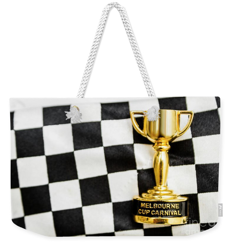 Great Weekender Tote Bag featuring the photograph Horse Races Trophy. Melbourne Cup Win by Jorgo Photography - Wall Art Gallery