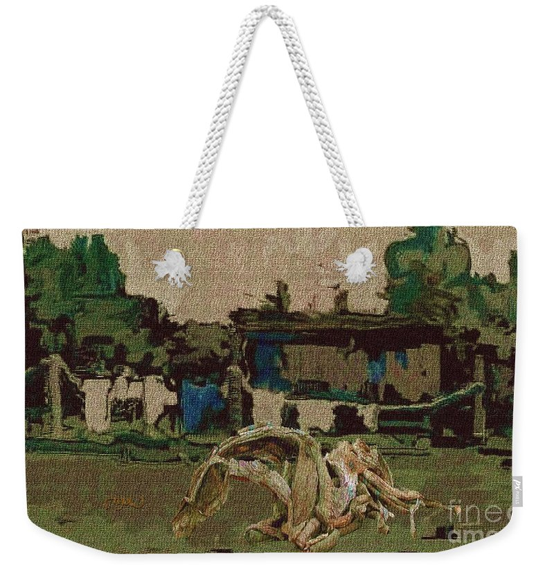 Modern Painting Weekender Tote Bag featuring the mixed media Horse Statue In The Field 1 by Pemaro