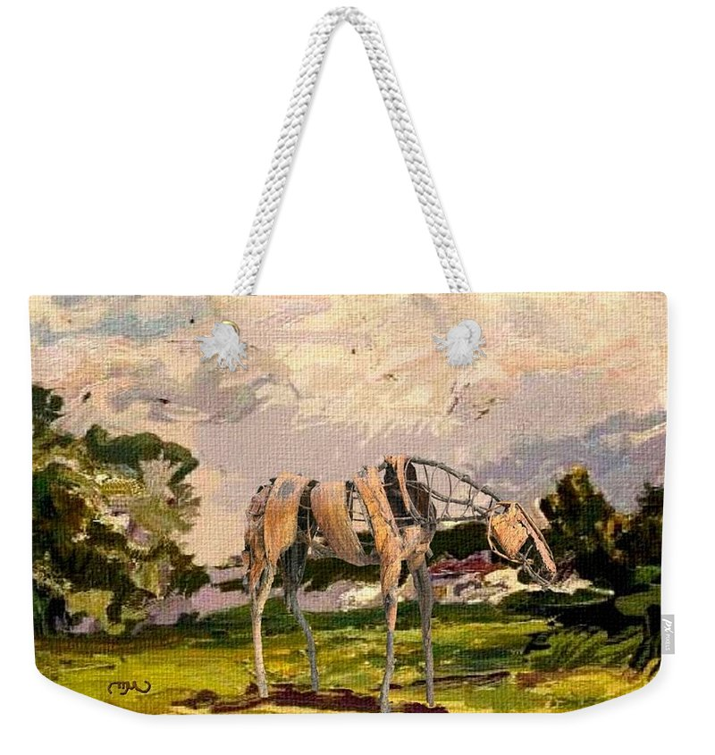 Modern Painting Weekender Tote Bag featuring the mixed media Horse Statue In The Field by Pemaro