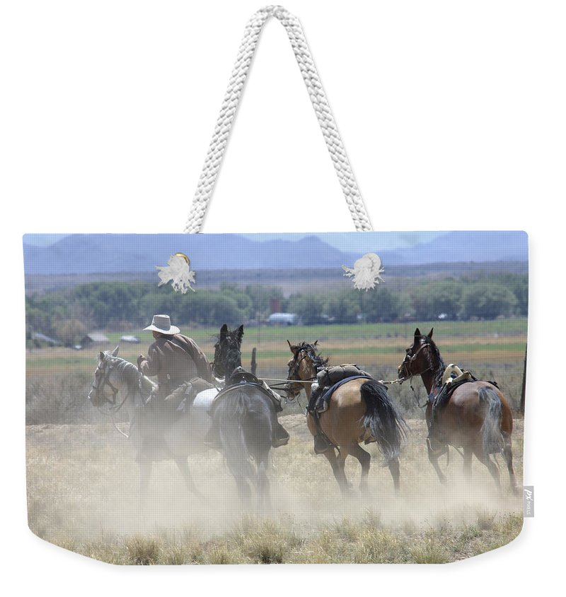Cowboy Weekender Tote Bag featuring the photograph Horse Thief by Jerry McElroy