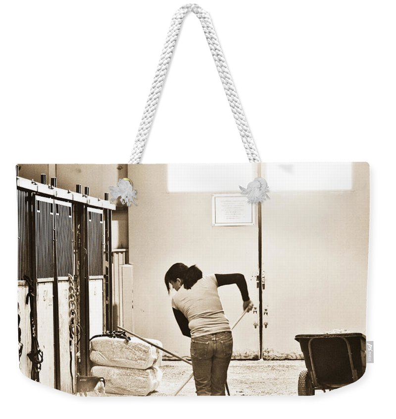 Horse Weekender Tote Bag featuring the photograph Horse Work by Marilyn Hunt