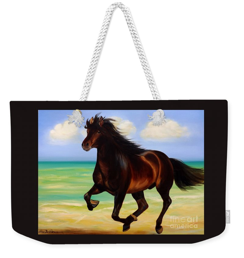 Horses Weekender Tote Bag featuring the painting Horses In Paradise Run by Gina De Gorna