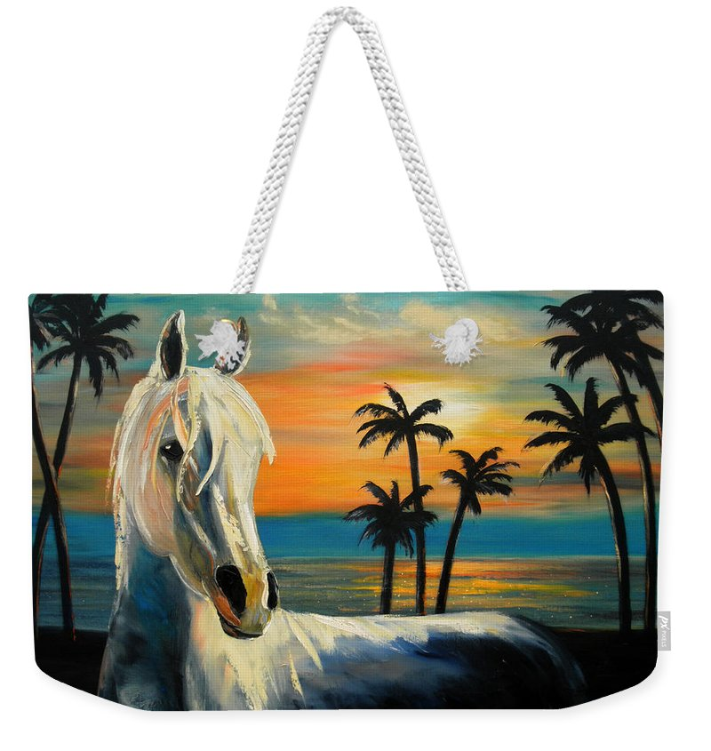 Horse Weekender Tote Bag featuring the painting Horses In Paradise Tell Me Your Dream by Gina De Gorna