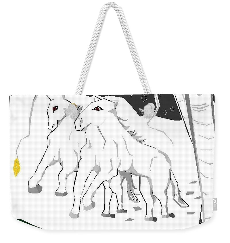 Weekender Tote Bag featuring the digital art Horses On A Snowy Evening by Ronnie Lee