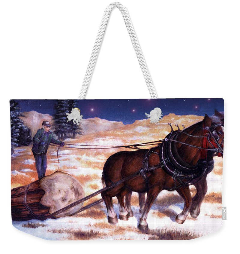Horse Weekender Tote Bag featuring the painting Horses Pulling Log by Curtiss Shaffer