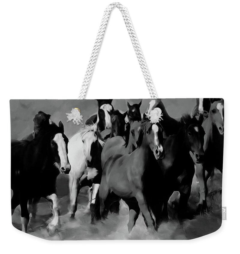 Wild Horse Weekender Tote Bag featuring the painting Horses Stampede 01 by Gull G
