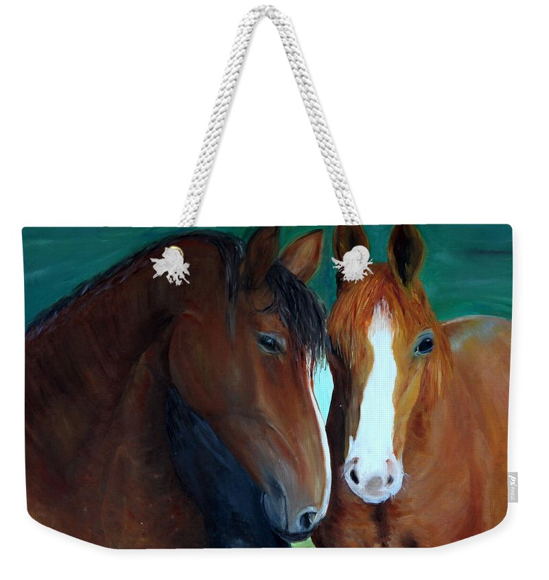 Horses Weekender Tote Bag featuring the painting Horses by Taly Bar