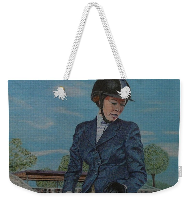 Colored Pencil Weekender Tote Bag featuring the drawing Horseshow Day by Patricia Barmatz