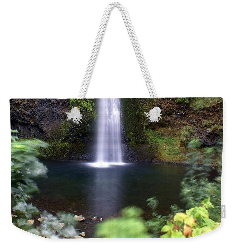 Columbia River Gorge Weekender Tote Bag featuring the photograph Horsetail Falls Basin by Marty Koch