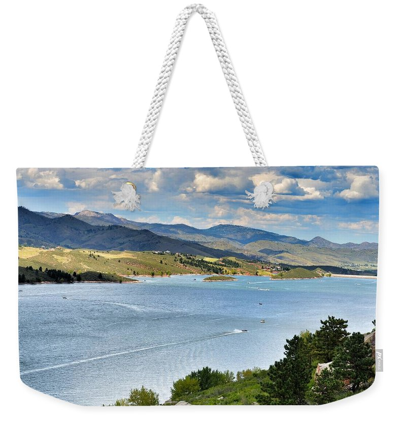 Water Weekender Tote Bag featuring the photograph Horsetooth Reservoir by Paulina Roybal