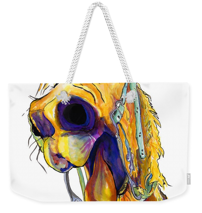 Animal Painting Weekender Tote Bag featuring the painting Horsing Around by Pat Saunders-White