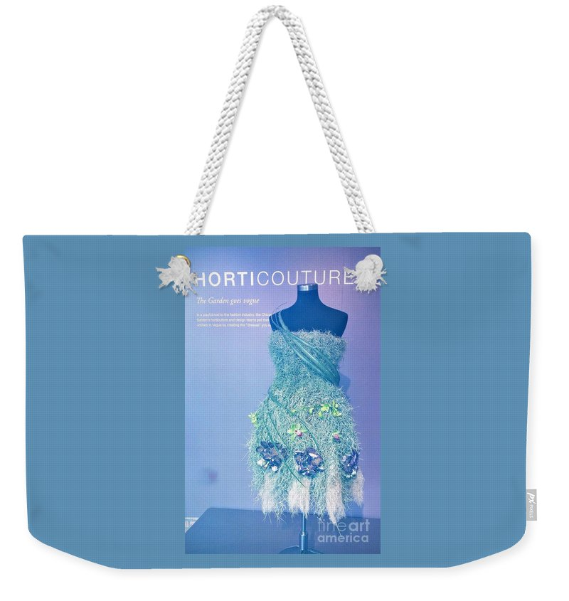 Horticourture Vogue Dress Weekender Tote Bag featuring the photograph Horticouture Vogue Dress Exhibit by Jane Butera Borgardt
