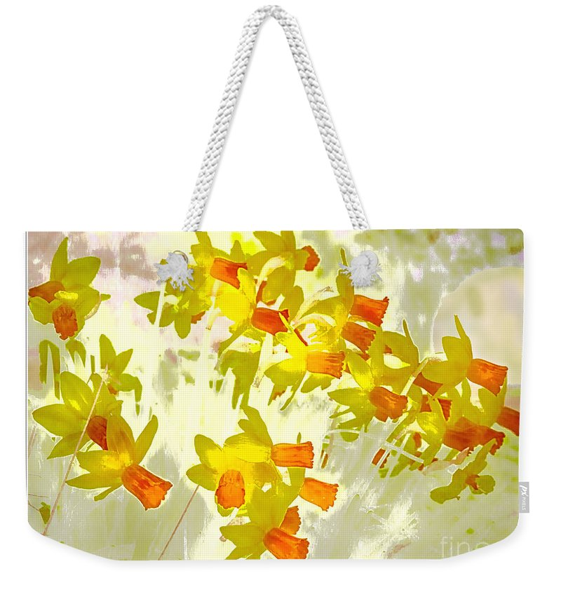 Daffodils Weekender Tote Bag featuring the digital art A Host Of Golden Daffodils by Nick Eagles