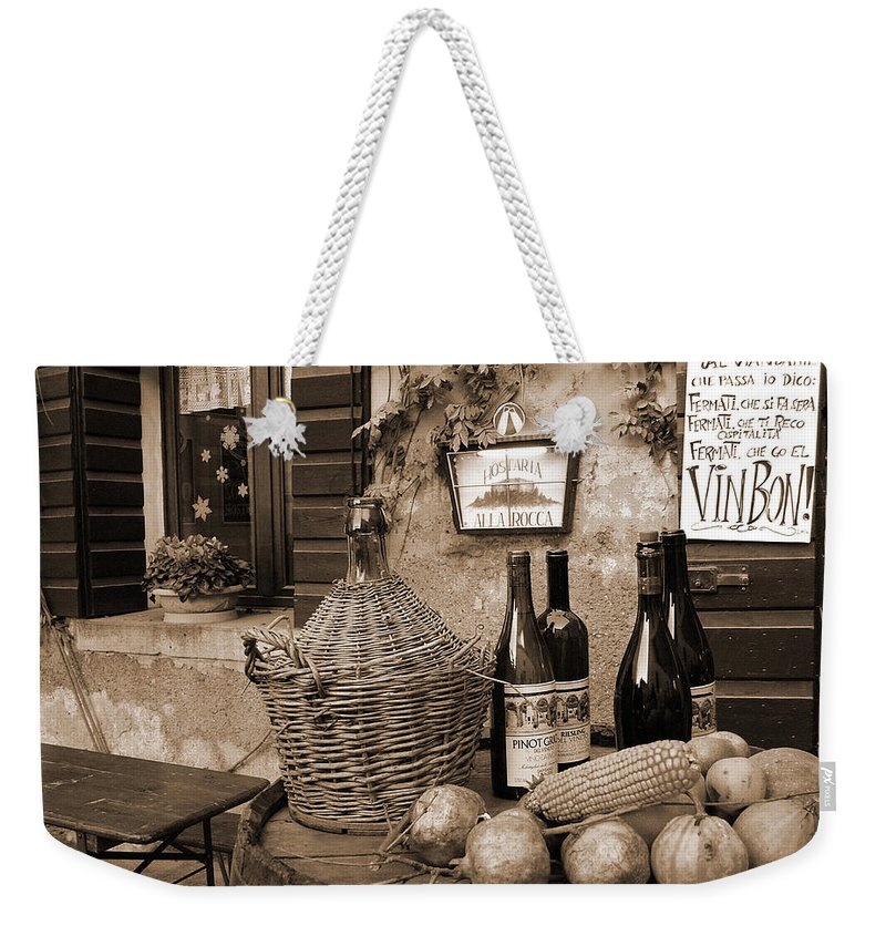 Hostaria Weekender Tote Bag featuring the photograph Hostaria Alla Rocca by Donna Corless