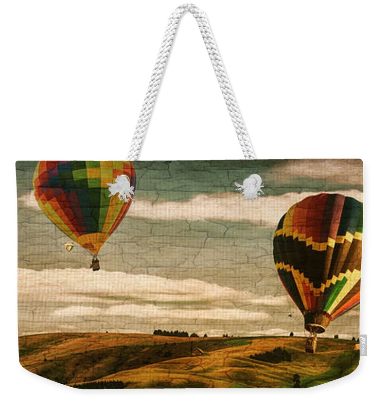 Hot Air Balloon Fantasy Vintage Weekender Tote Bag featuring the photograph Hot Air Balloon Vintage Fantasy by Priscilla Burgers