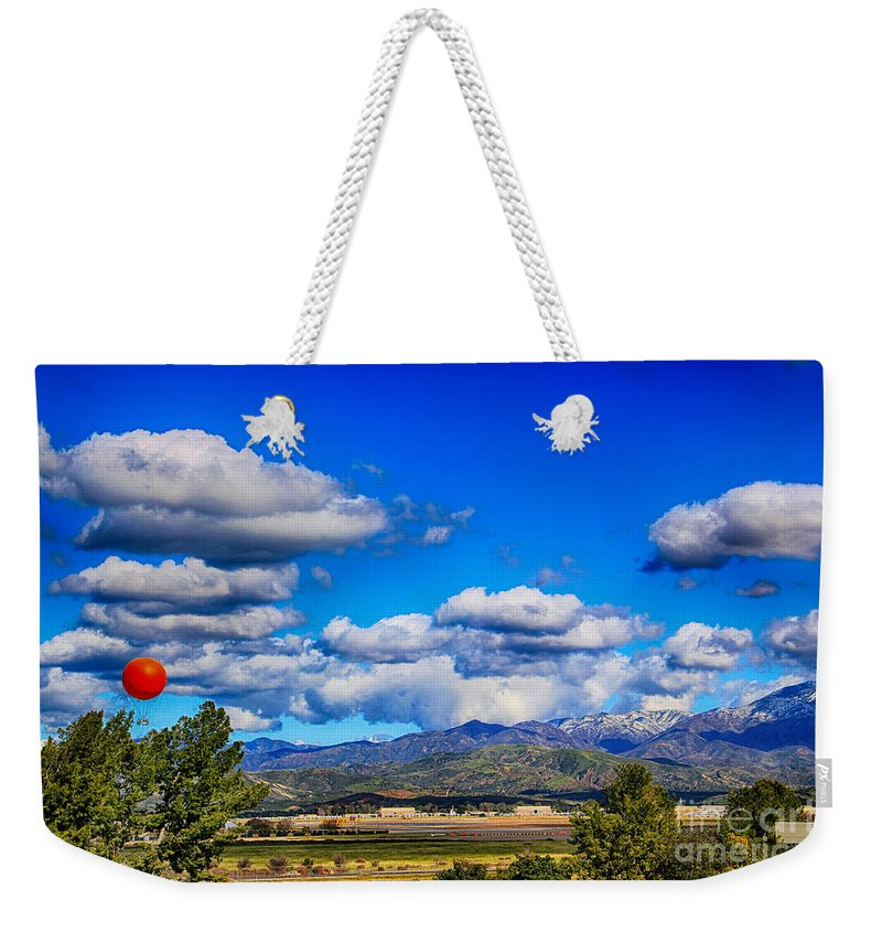 Great Park Balloon Weekender Tote Bag featuring the photograph Hot Air Balloon Ride In Orange County by Mariola Bitner
