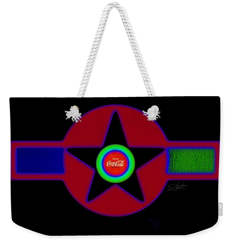 Usaaf Weekender Tote Bag featuring the painting Hot Black by Charles Stuart