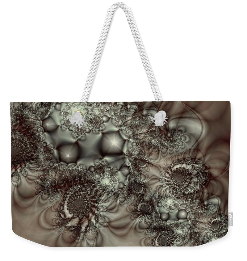 Green Weekender Tote Bag featuring the digital art Hot Chocolate Possibilities by Casey Kotas