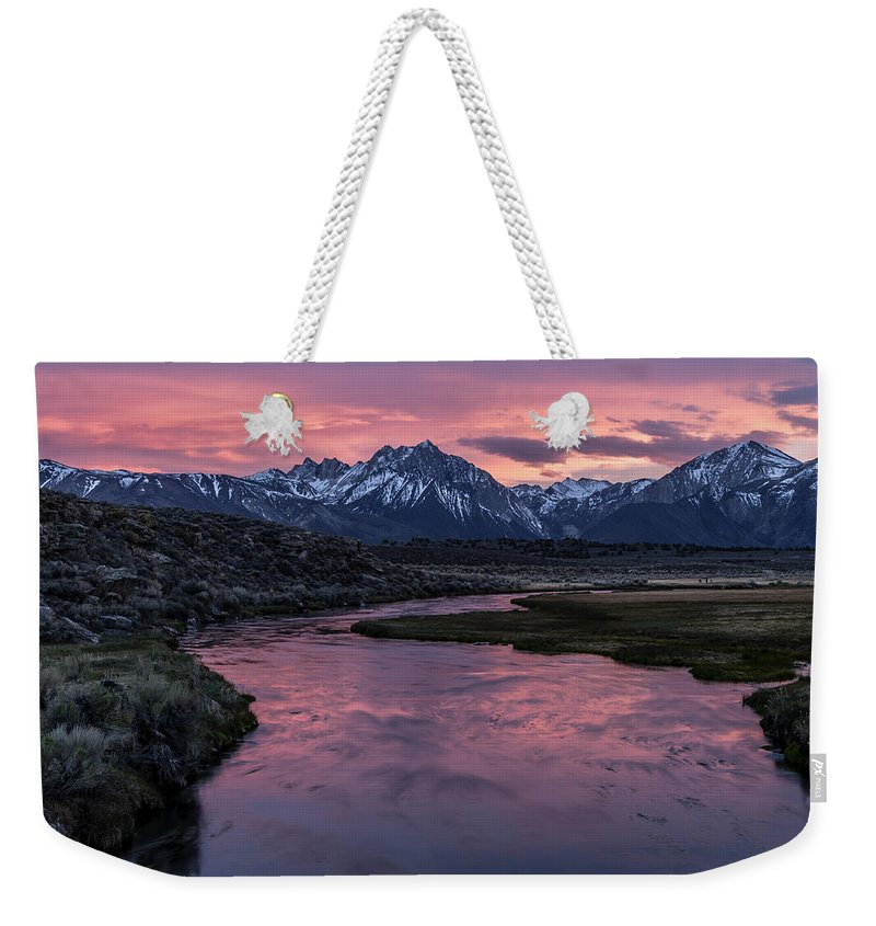 California Weekender Tote Bag featuring the photograph Hot Creek Sunset by Cat Connor