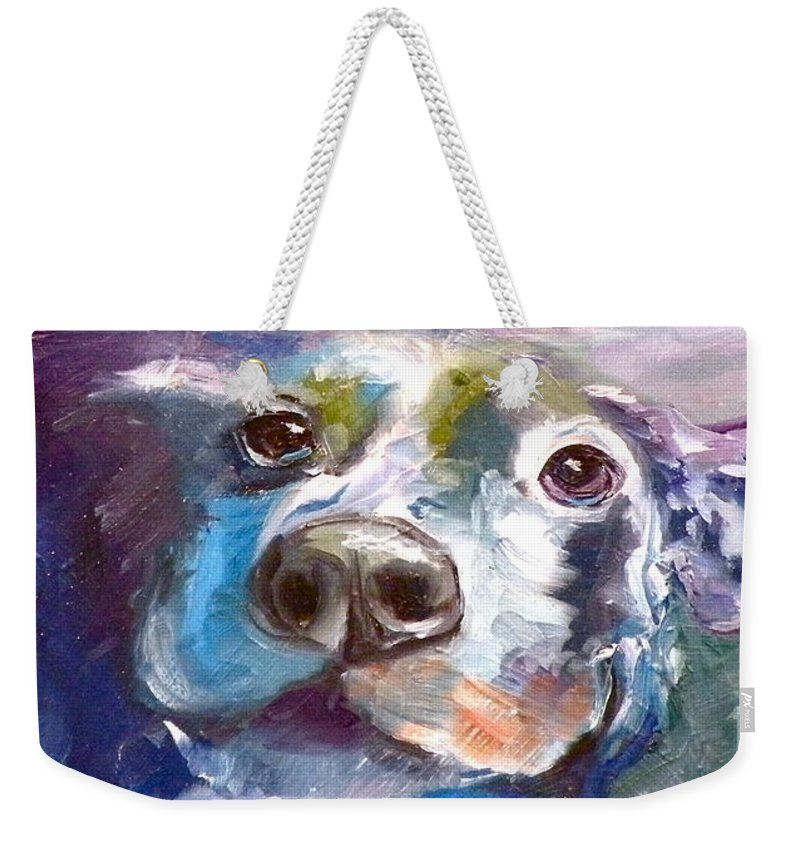 Dogs Weekender Tote Bag featuring the painting Hot Dog Chilly Dog Study by Susan A Becker