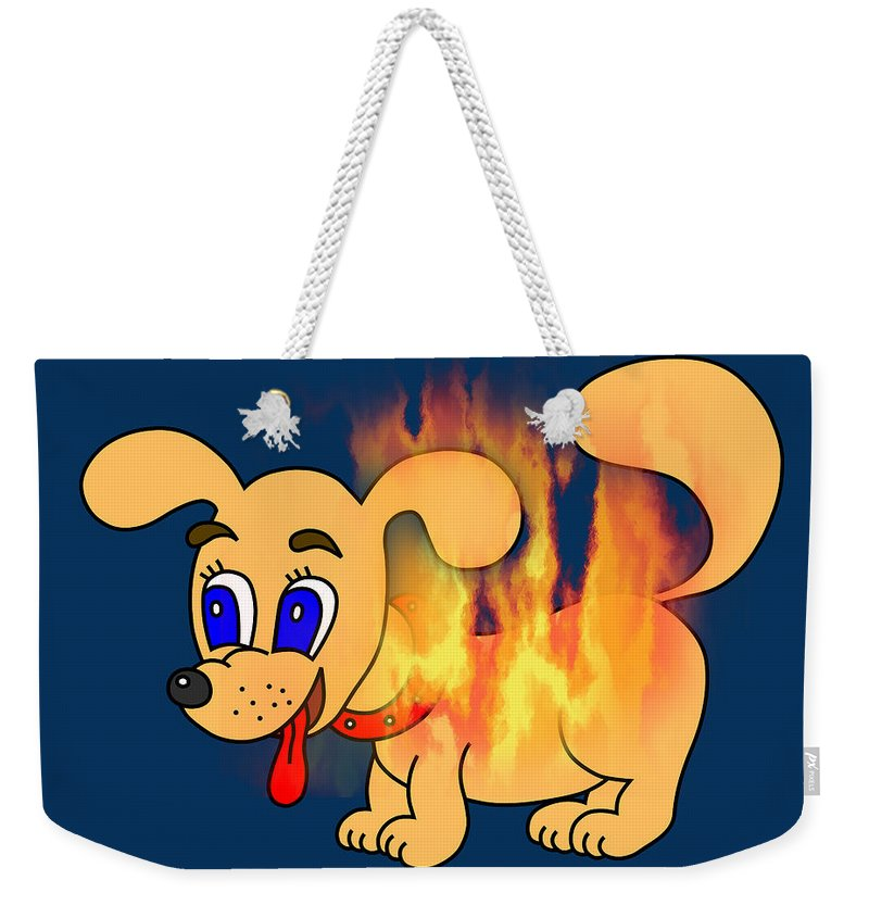 Hot Weekender Tote Bag featuring the digital art Hot Dog by Miroslav Nemecek
