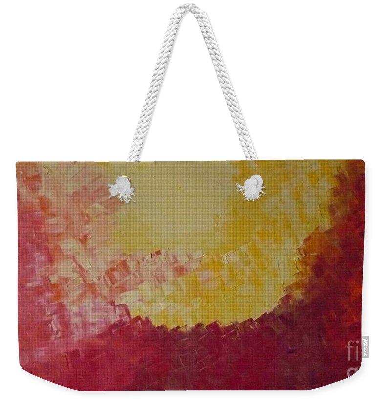Hot Weekender Tote Bag featuring the painting Hot Energy by Monika Shepherdson