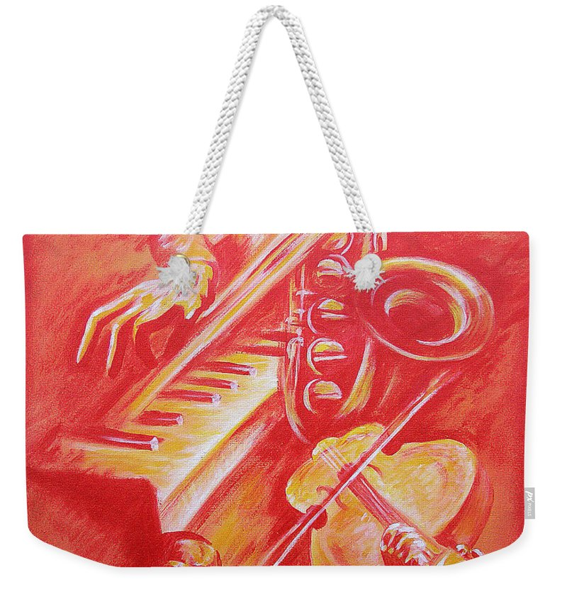Jazz Music Instruments Singing Acrylic Canvas Weekender Tote Bag featuring the painting Hot Jazz by Shaun McNicholas