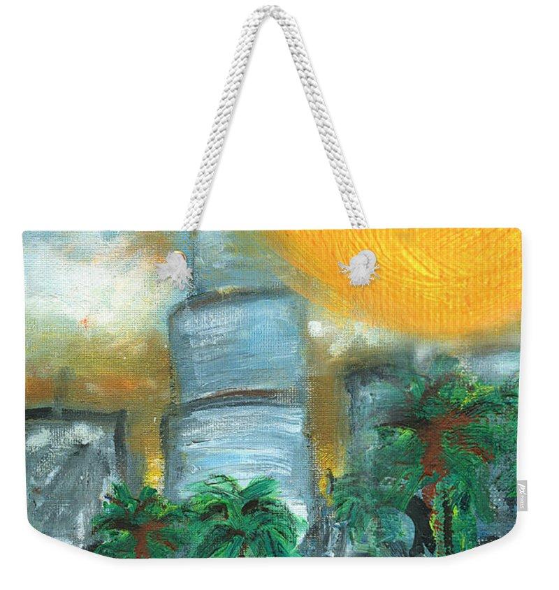 Miami Weekender Tote Bag featuring the painting Hot Miami Sky by Jorge Delara
