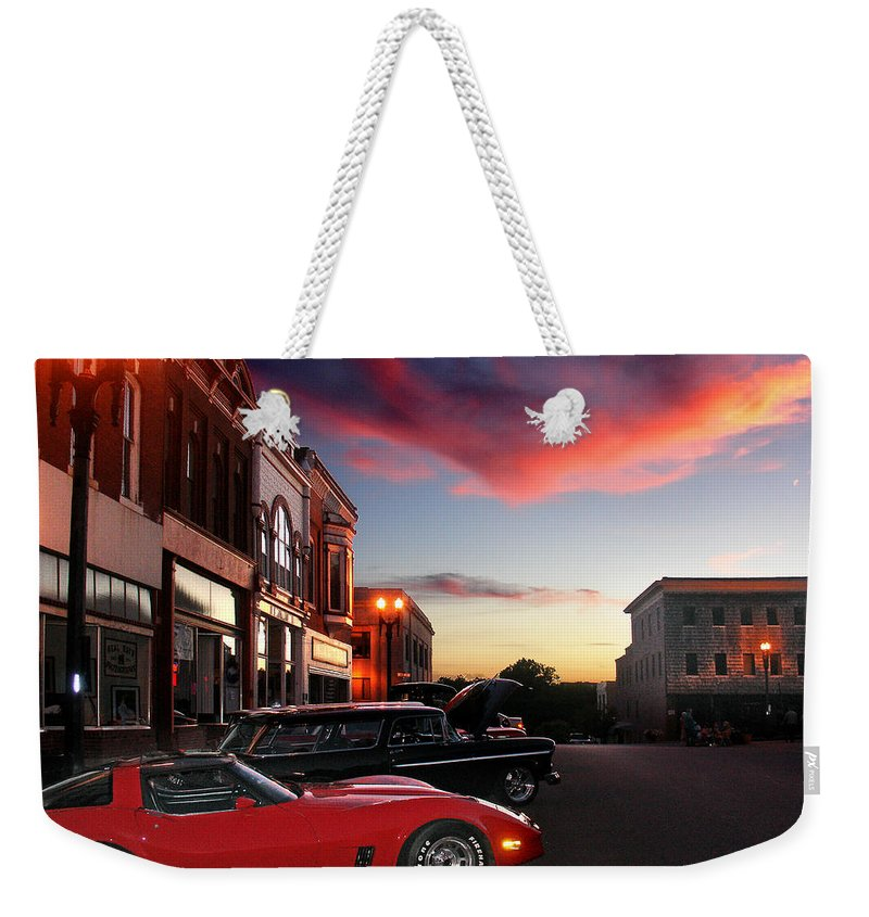 Car Weekender Tote Bag featuring the photograph Hot Night by Steve Karol