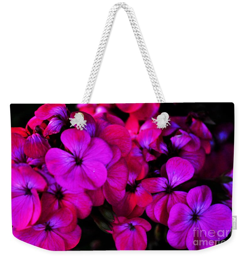 Clay Weekender Tote Bag featuring the photograph Hot Pink Florals by Clayton Bruster