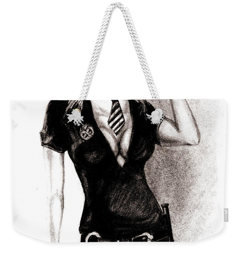 Police Weekender Tote Bag featuring the drawing hot Police unifome by Alban Dizdari