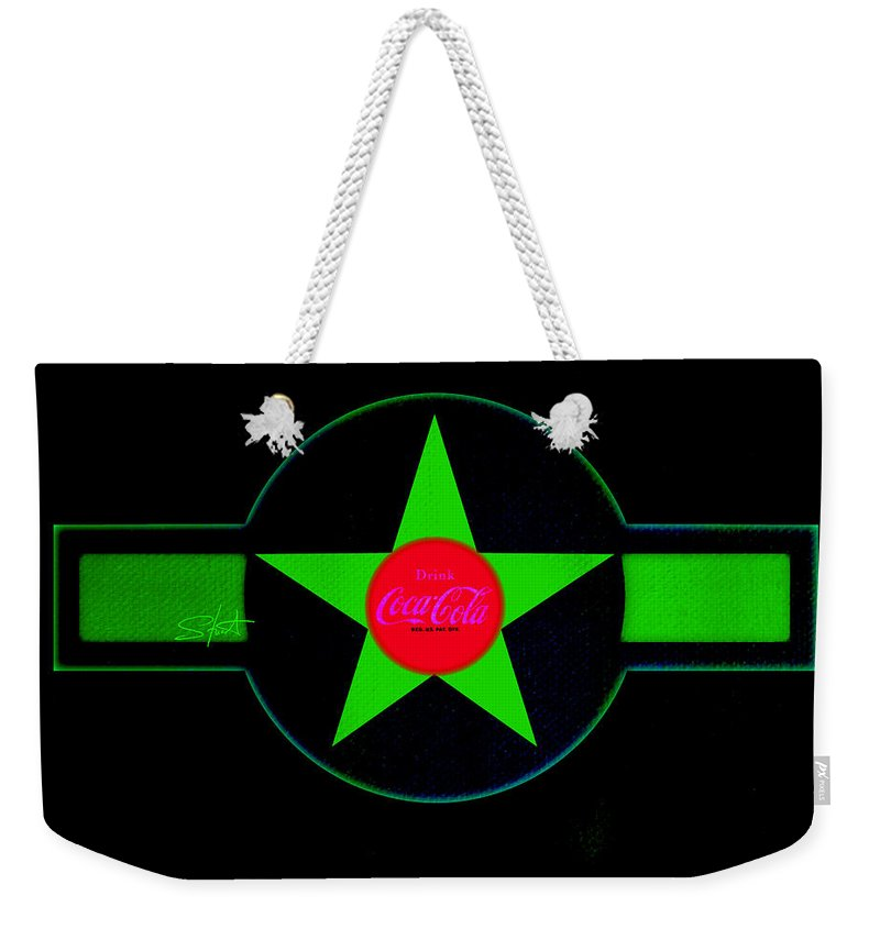 Label Weekender Tote Bag featuring the painting Hot Red On Cool Green by Charles Stuart