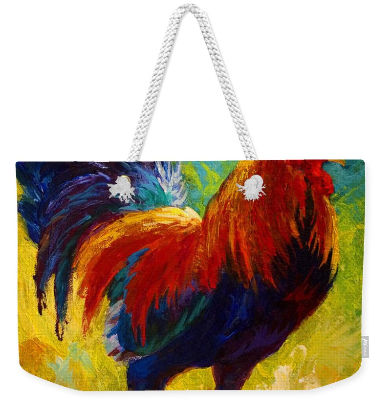 Rooster Weekender Tote Bag featuring the painting Hot Shot - Rooster by Marion Rose