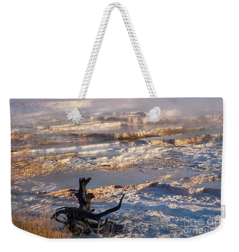 Mammoth Hot Springs Weekender Tote Bag featuring the photograph Mammoth Hot Springs One by Bob Phillips
