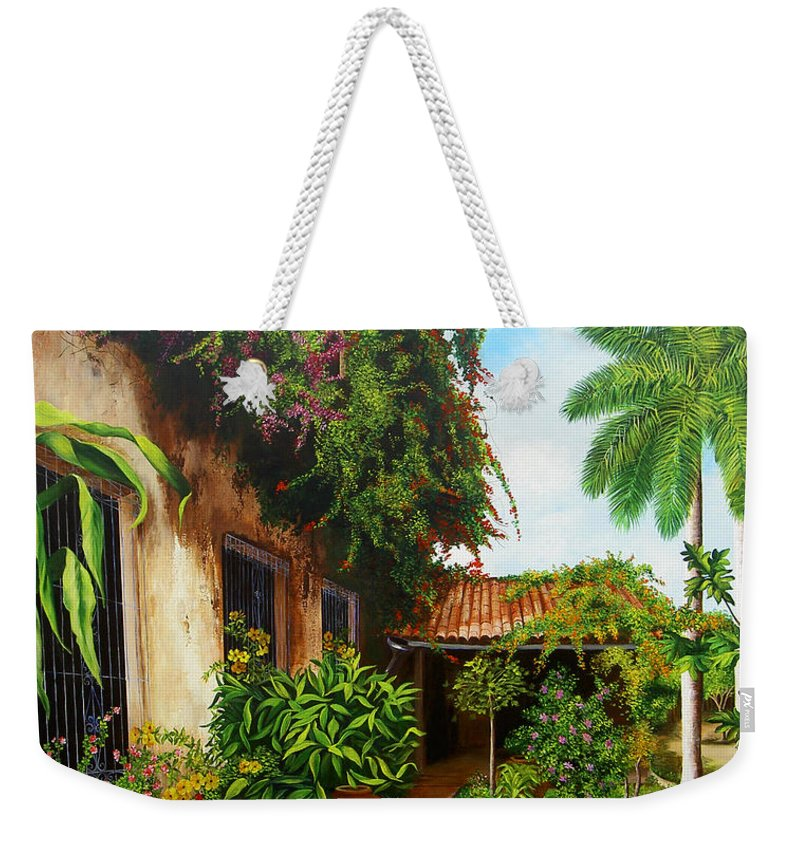 Cuban Weekender Tote Bag featuring the painting Hotel Camaguey by Dominica Alcantara