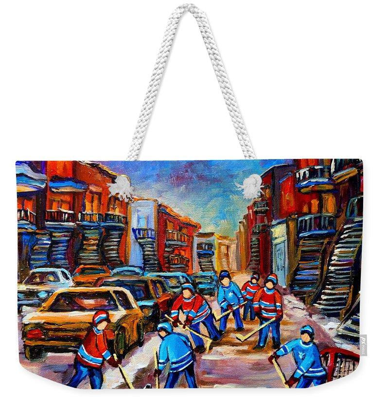 Montreal Weekender Tote Bag featuring the painting Hotel De Ville Montreal Hockey Street Scene by Carole Spandau