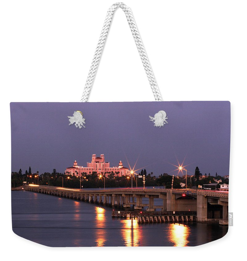 Don Cesar Weekender Tote Bag featuring the photograph Hotel Don Cesar The Pink Palace St Petes Beach Florida by Mal Bray