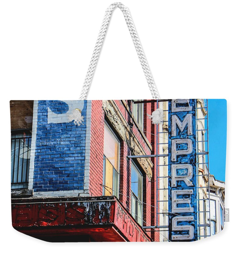 High Dynamic Range Weekender Tote Bag featuring the photograph Hotel Empress by Dorothy Hilde