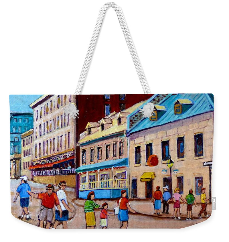 Hotel Nelson Old Montreal Weekender Tote Bag featuring the painting Hotel Nelson Old Montreal by Carole Spandau