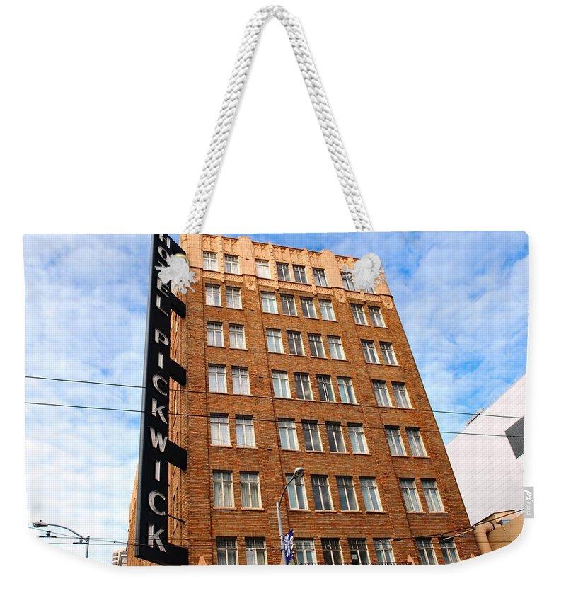 City Weekender Tote Bag featuring the photograph Hotel Pickwick - San Francisco by Matt Harang