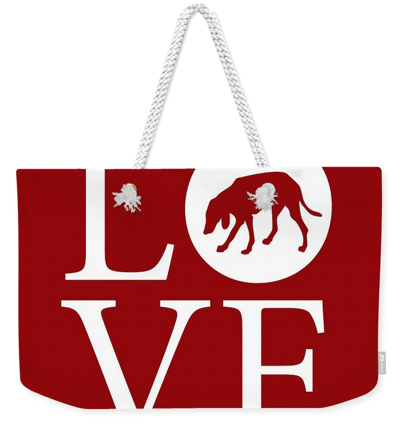 Hound Dog Weekender Tote Bag featuring the digital art Hound Dog Love Red by Nancy Ingersoll