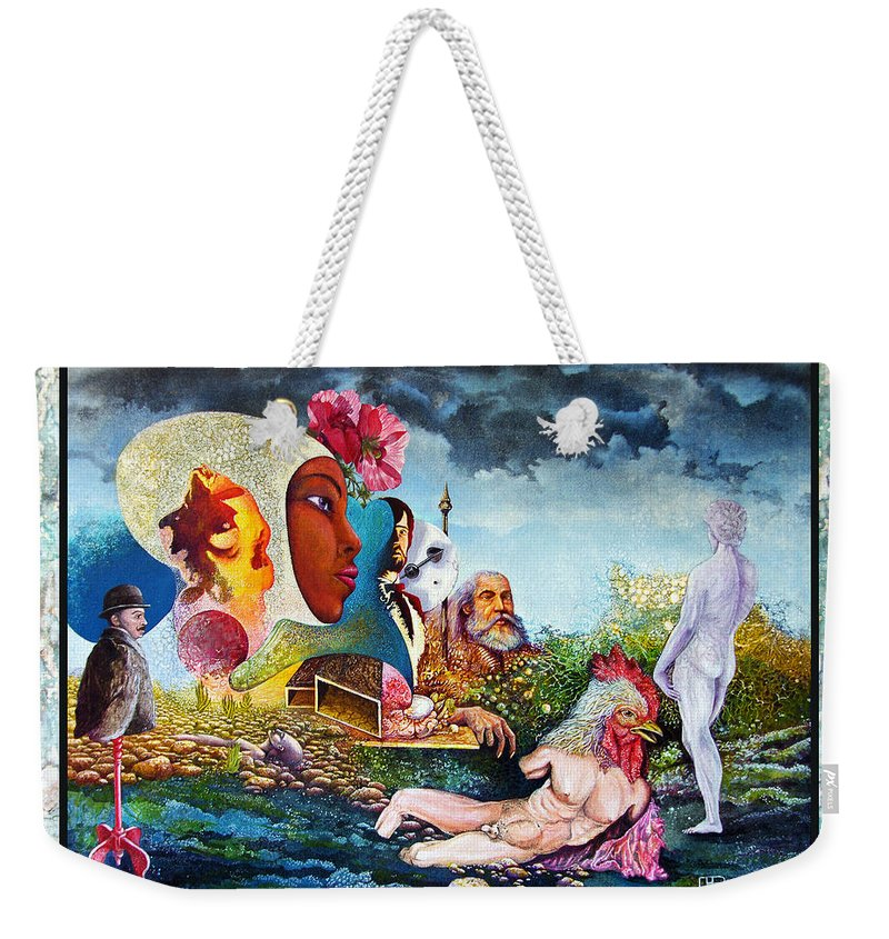Surrealism Weekender Tote Bag featuring the mixed media Hour Of The Cock by Otto Rapp